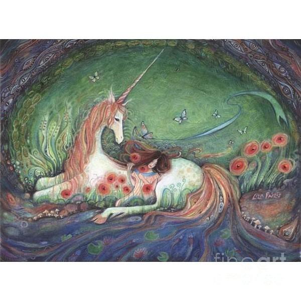 Sleep Of Innocence Unicorn Fairy Tale Art Original Mixed Media
