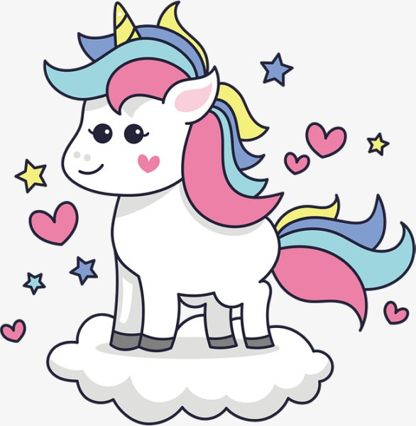 Standing In The Clouds Unicorn, Unicorn Clipart, Vector Png, Cute