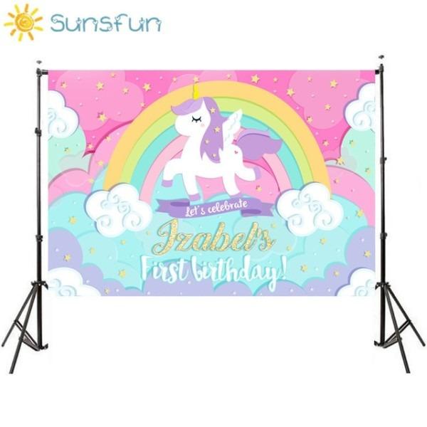 Sunsfun 7x5ft Unicorn Backdrop Birthday Background Golden Rainbow