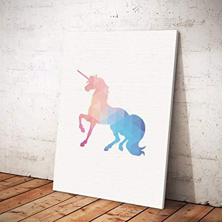 Sunwords Fashion Colorful Unicorn Frameless Wall Art Painting