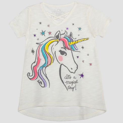 Toddler Girls' L O L  Vintage Unicorn Magic Short Sleeve T