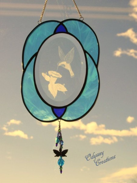 Turquoise And Blue Hummingbird Stained Glass Sand Blasted Oval