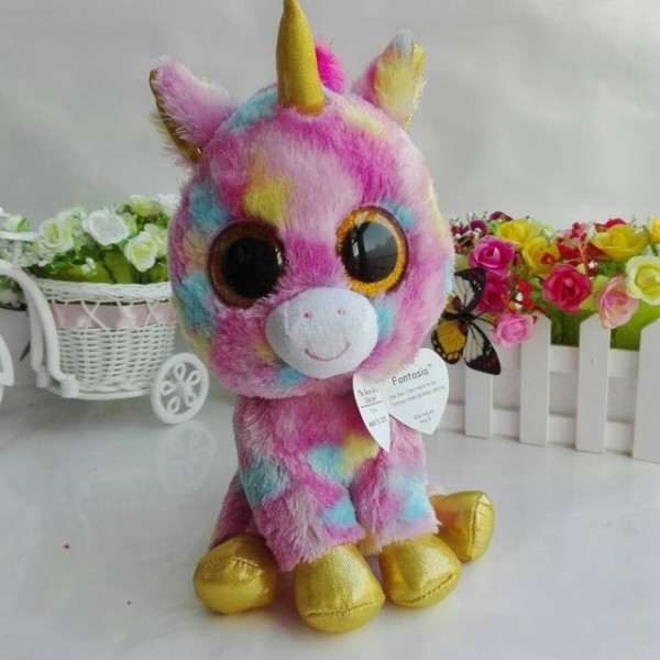 Ty Beanie Boos 1pc 25cm 10  Big Eye Fantasia Unicorn Pixy Unicorn