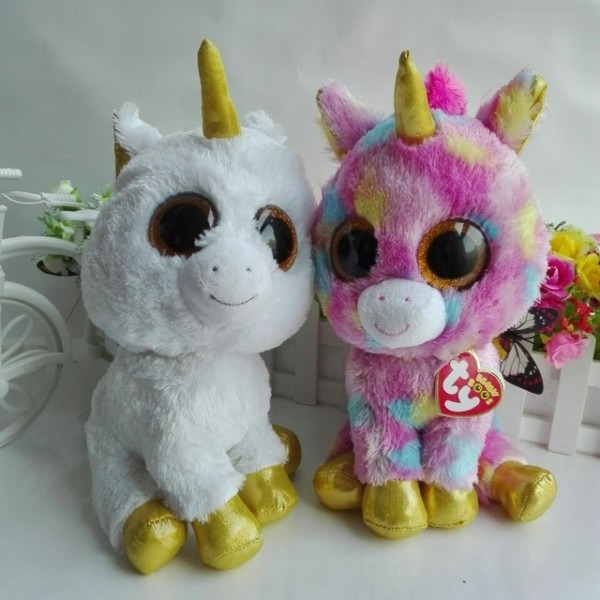 Ty Beanie Boos 2pcs 25cm 10  Big Eye Pegasus Unicorn Fantasia