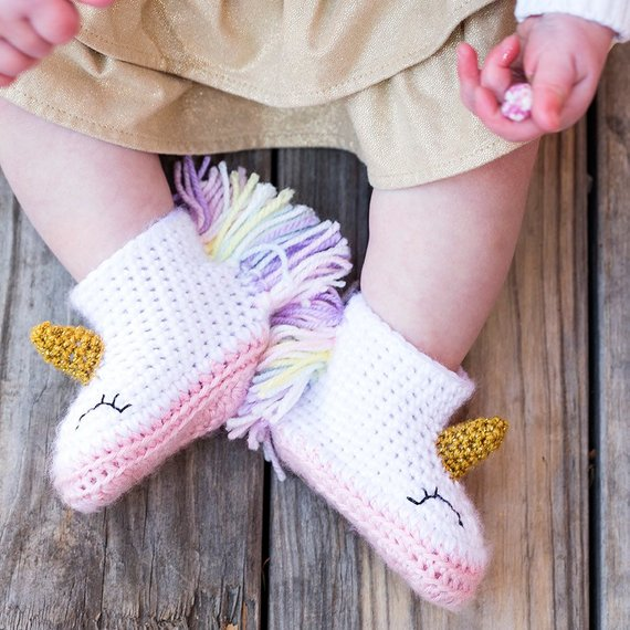 Unicorn Baby Booties Unicorn Baby Shoes Crochet Unicorn