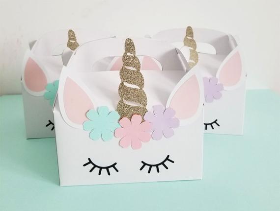 Unicorn Birthday Party Favor Box Unicorn Theme Favor Box
