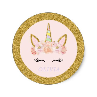 Unicorn Birthday Party Favors Pink Gold Floral Classic Round