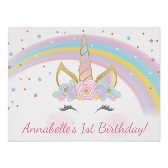 Unicorn Birthday Party Poster Backdrop