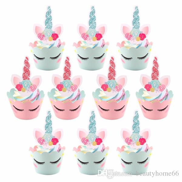 Unicorn Cake Toppers Rainbow Unicorn Birthday Cake Wrappers Happy