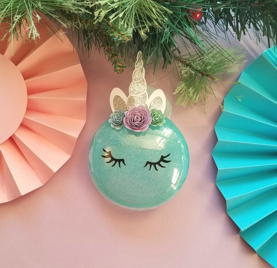 Unicorn Christmas Ornament Unicorn Ornament Glitter