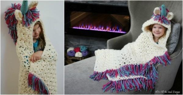 Unicorn Cowl Blanket Crochet Pattern
