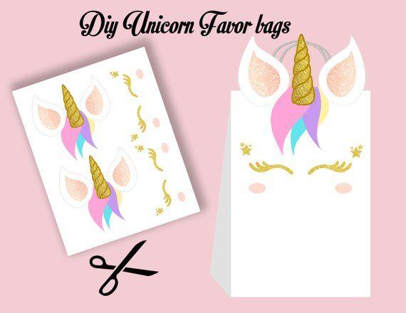 Unicorn Diy Favor Bags, Unicorn Party Bags Printable, Unicorn Diy