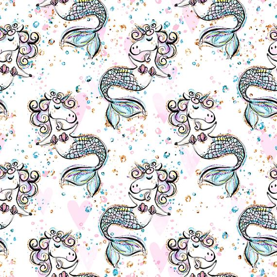 Unicorn Fabric Unicorn Mermaid Fabric Knit Fabric Jersey