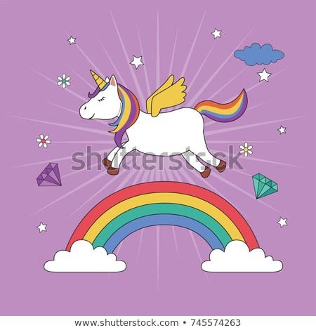 Unicorn Flying Over Rainbow Stock Vector (royalty Free) 745574263