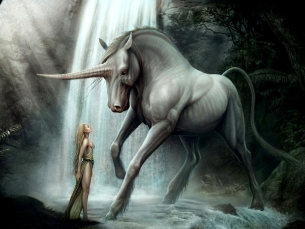 Unicorn Girl Waterfall Fantasy Art Gigantic Print Poster Ebay