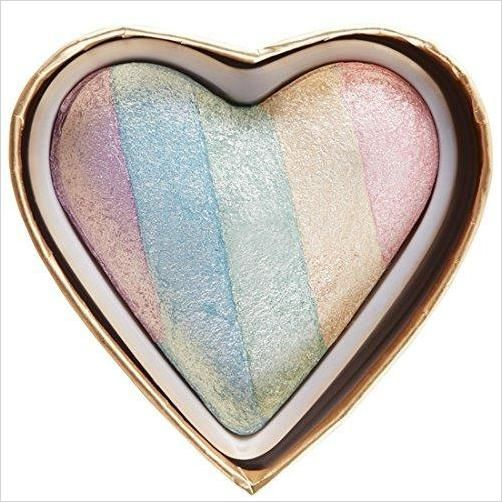 Unicorn Heart Blushing Hearts Triple Baked Rainbow Highlighter