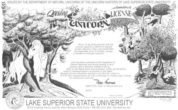 Unicorn Hunting License From Lake Superior State University
