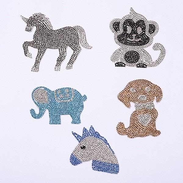 Unicorn Monkey Elephant Animal Design Hotfix Rhinestone Motif Iron
