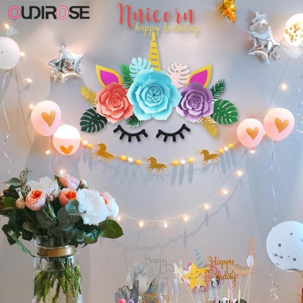 Unicorn Paper Flower Unicornio Horn Ears Birthday Party Decoration
