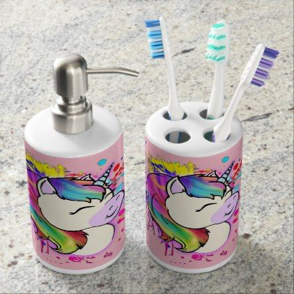 Unicorn Toothbrush & Bathroom Soap Soap Dispenser And Toothbrush