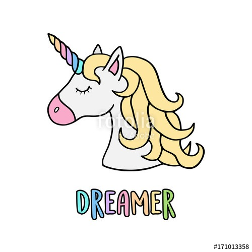 Unicorn Vector Illustration Drawing With Rainbow Writing Dreamer