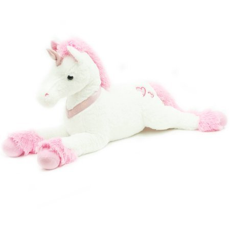 Valentine's Day 32″ Large Unicorn Plush Toy , Pink   White – The