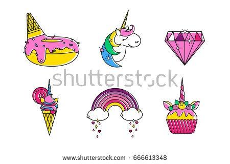 Vector Outline Cupcake Set