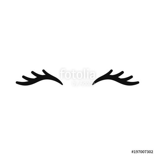 Vector Unicorn Eyelashes  Closed Eyes  Vector Icon   Stock Image
