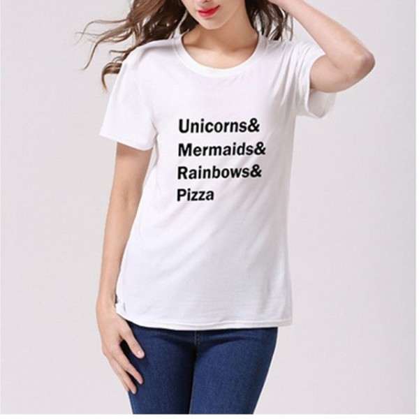 Women's Fashion T Shirt Unicorns Mermaids Rainbows Pizza Letters