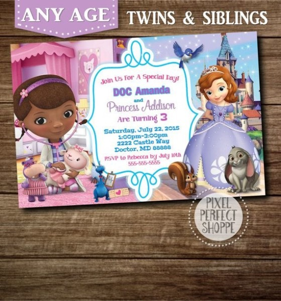 You Choose Doc Mcstuffins Invitation, Toy Story Invitation, Cars