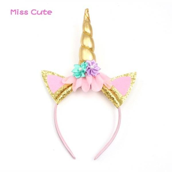 10pcs Lot Handmade Unicorn Headband With Flowers Kids Party Gold