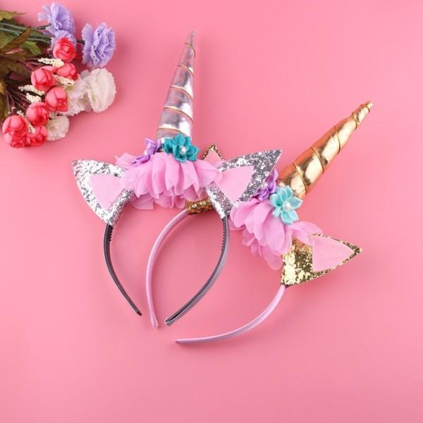 1pc Gold Unicorn Headband Handmade Kids Party Horn Gold Glittery
