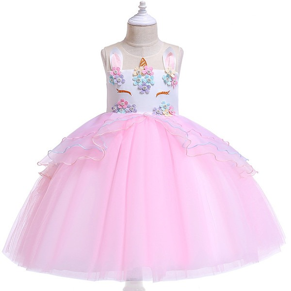 2019 Unicorn Dress Summer Girl Embroidery Flower Baby Girls Party