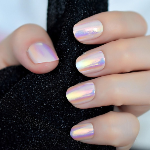 24pcs Unicorn Chrome Press On Fake Nails With Designs Iridescent