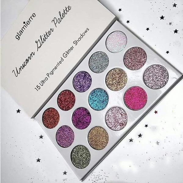 2 Style Glamierre Unicorn Glitter Eyeshadow Palette Makeup Eye