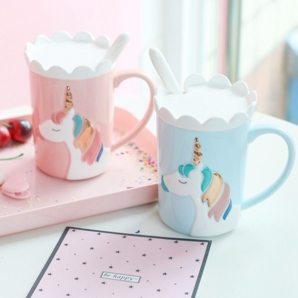 3d Creative Cute Unicorn Mug Korean Version With Lid Spoon Crown