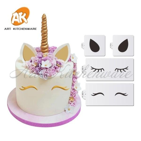 3pcs Unicorn Cake Lace Stencil Cookie Stencil Set,cupcake