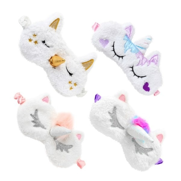 4 Pcs Cute Unicorn Sleep Eye Mask Cover Soft Plush Eyeshade