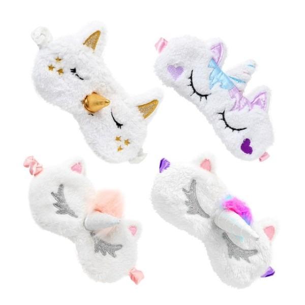 4 Pcs Cute Unicorn Sleep Eye Mask Cover Soft Plush Eyeshade