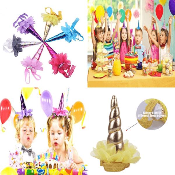 6 Pack Unicorn Headband Shiny Horn Glitter Elastic Dress Party