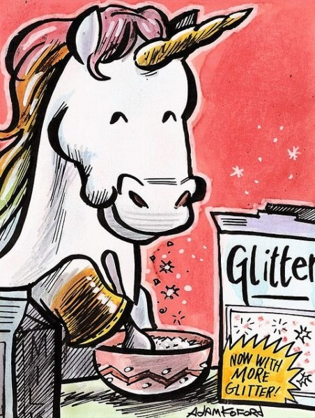 A Unicorn Eating A Bowl Of Glitter