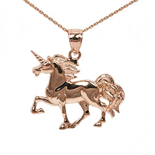 Amazon Com  14k Rose Gold Unicorn Pendant  Handmade
