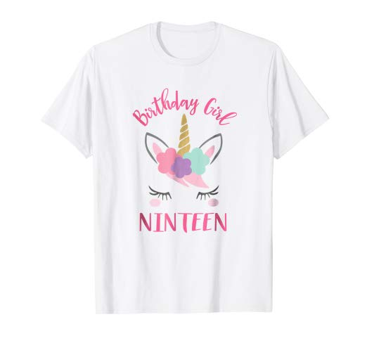 Amazon Com  19th Birthday Unicorn Shirts For Girls, Pink 19th