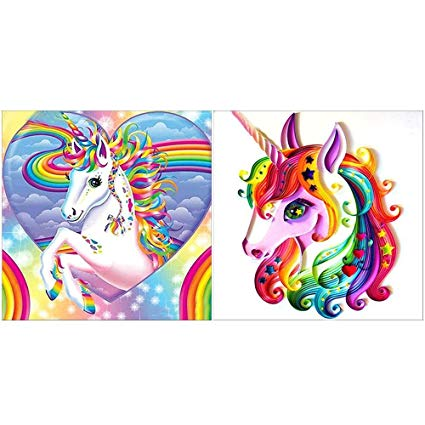 Amazon Com  2 Packs 5d Diy Diamond Painting Kits For Adult Unicorn