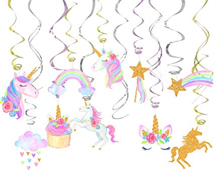 Amazon Com  30 Ct Unicorn Hanging Swirl Decorations