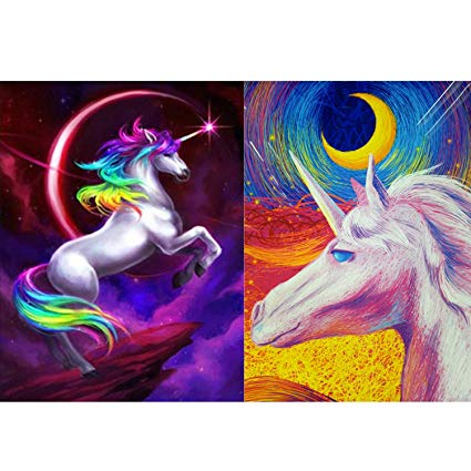 Amazon Com  5d Diy Diamond Painting Kit For Adult, 2 Pack Unicorn