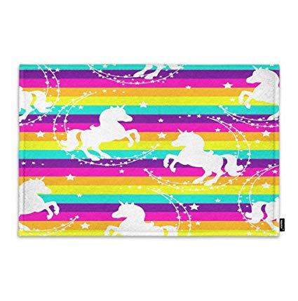 Amazon Com   Moslion Unicorn Door Mat Cute Animal Cartoon Horse