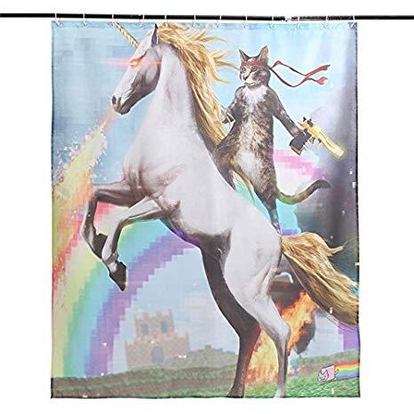 Amazon Com  Cat Unicorn Shower Curtain