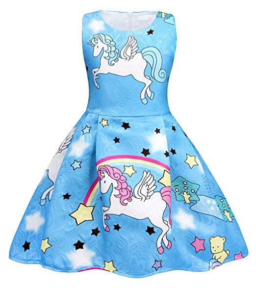 Amazon Com  Cotrio Rainbow Unicorn Dress Little Girls Birthday