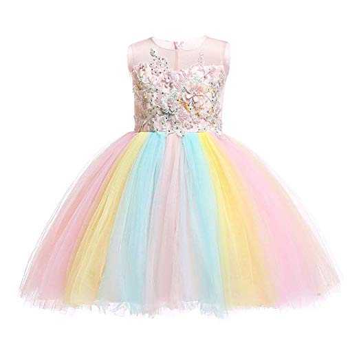 Amazon Com  Girls Rainbow Unicorn Dress Up Costume Puffy Tulle